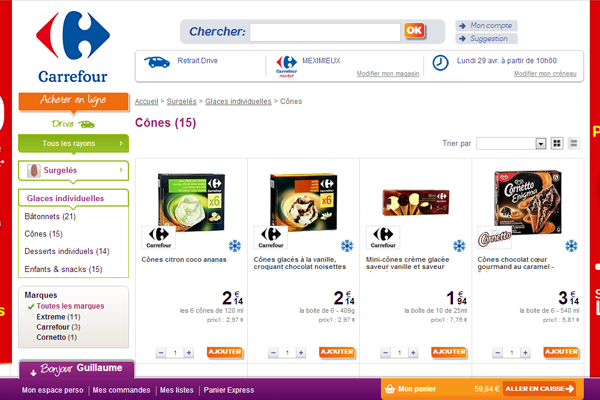Site internet de Carrefour Drive