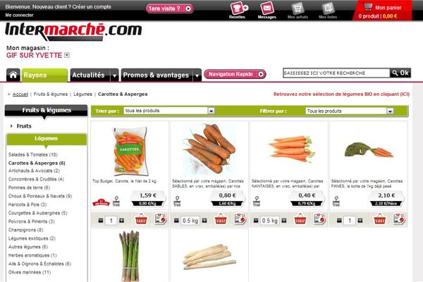 Site internet de Intermarché Drive