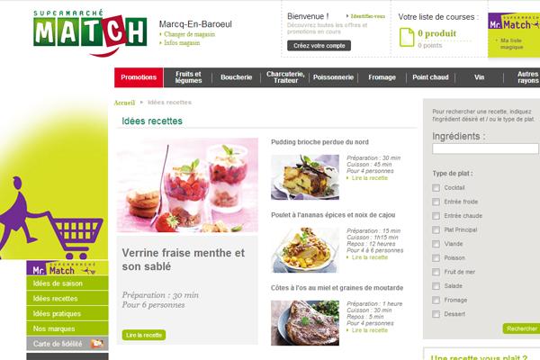 Site internet de Supermarchés Match